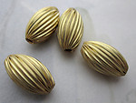 12 pcs. raw brass corrugated beads 14x8mm - r451