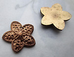 4 pcs. solid raw brass star flower flat back cabochons 16mm - r452
