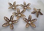 15 pcs. raw brass filigree flower stampings w rivet hole or beads bead caps 14mm - r455