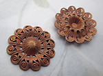 6 pcs. raw brass filigree flower stampings 20mm - r459