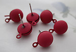 18 pcs. (9 pair) painted coral orange pierced earring findings w 8mm half ball - r471