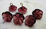 18 pcs. glass amethyst purple flowers on wire charms approx 12mm - s1008