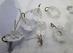 18 pcs. glass clear flower on wire charms approx 9x8mm - s1014