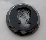 glass black w hematite finish intaglio portrait flat back cabochon 18mm - s114