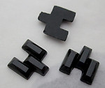 10 pcs. glass black art deco staggered rectangles flat back cabochons 10x10mm - s121