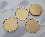 12 pcs. raw brass lace edge cabochon settings w pendant loop 18mm - s123