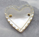 3 pcs. mother of pearl MOP shell scalloped heart sew on cabochons w 2 holes 14x13mm - s161