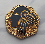 glass Aquarius black w gold plate mid century modern zodiac cameo relief flat back cabochon 19mm - s191