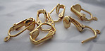 18 pcs. gold tone clip on earring findings w loop - s192