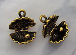 6 pcs. antiqued gold tone plated open oyster shell w pearl charms 13x13mm - s206