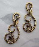 6 pcs. antiqued gold tone plated curlicue flower connector charms 30x13mm - s207