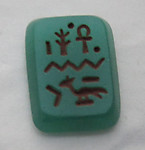 Gablonz Czech glass chrysoprase green Neiger Brothers Egyptian revival painted intaglio Hieroglyphics flat back cabochon 15x11mm - s210