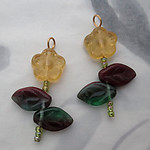 4 pcs. Czech glass flower and leaf bead charms 28x20mm - s218