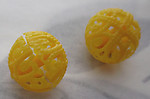 6 pcs. yellow plastic filigree beads 12mm - s233