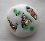 glass white w multi colored foil inclusion cabochon 15mm - s262