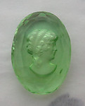 glass reverse intaglio wonan's poprtrait in peridot green w faceted edge cabochon 25x18mm - s281