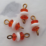 12 pcs. glass orange and white beads on raw brass wire connector charms 7x6mm - s289
