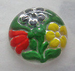 glass reverse painted intaglio floral flower cabochon 14mm - s295