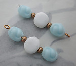 6 pcs. glass blue and white bead charms 29x8mm - s307