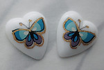 6 pcs. porcelain print blue butterfly heart shaped flat back cabochons 12x10mm - s333