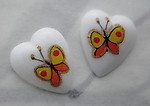 6 pcs. porcelain print orange butterfly heart shaped flat back cabochons 12x10mm - s335
