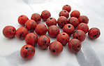 25 pcs. Czech glass coral orange spotted beads 10mm - s33