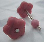 4 pcs. glass pink flower bead on raw brass wire charms 21x14mm - s345