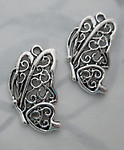 4 pcs. casted pewter butterfly charms 21x16mm - s347