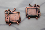 6 pcs. antiqued copper plated alloy TV television charms 16x14mm - s359