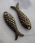 6 pcs. antiqued brass plated fish charms 23x8mm - s360