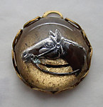 reverse painted intaglio horse cabochon charm 13mm - s361