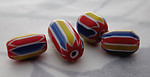 12 pcs. glass red yellow and blue striped chevron beads - s365