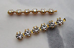 5 pcs. Swarovski MCC machine cut crystal clear rhinestones in raw brass pronged bar settings - s47