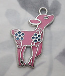 3 pcs. pink w turquoise blue flowers enamel on silver tone fawn deer pendant charms 28x23mm - s59
