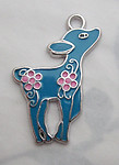 3 pcs. turquoise blue w pink flowers enamel on silver tone fawn deer pendant charms 28x23mm - s62
