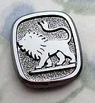 2 pcs. glass w hematite finish lion flat back cabochons 16x14mm - s733
