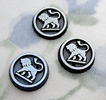 6 pcs. glass w hematite finish lion flat back cabochons 9mm - s734