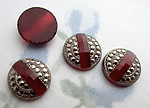 4 pcs. glass Art Deco carnelian w faux marcasite flat back cabochons 12mm - s735