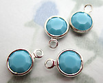 12 pcs. glass opaque turquoise blue channel set chanton rose rhinestone in silver charms 7mm - s786