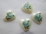12 pcs. plastic blue rose floral flower print heart shaped flat back cabochons 10x9mm - s78