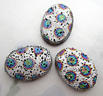 3 pcs. Czech glass textured bumpy AB spotted flat back cabochons 18x13mm - s813