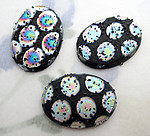 3 pcs. Czech glass textured bumpy AB spotted flat back cabochons 18x13mm - s814