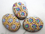 3 pcs. Czech glass textured bumpy AB spotted flat back cabochons 18x13mm - s815