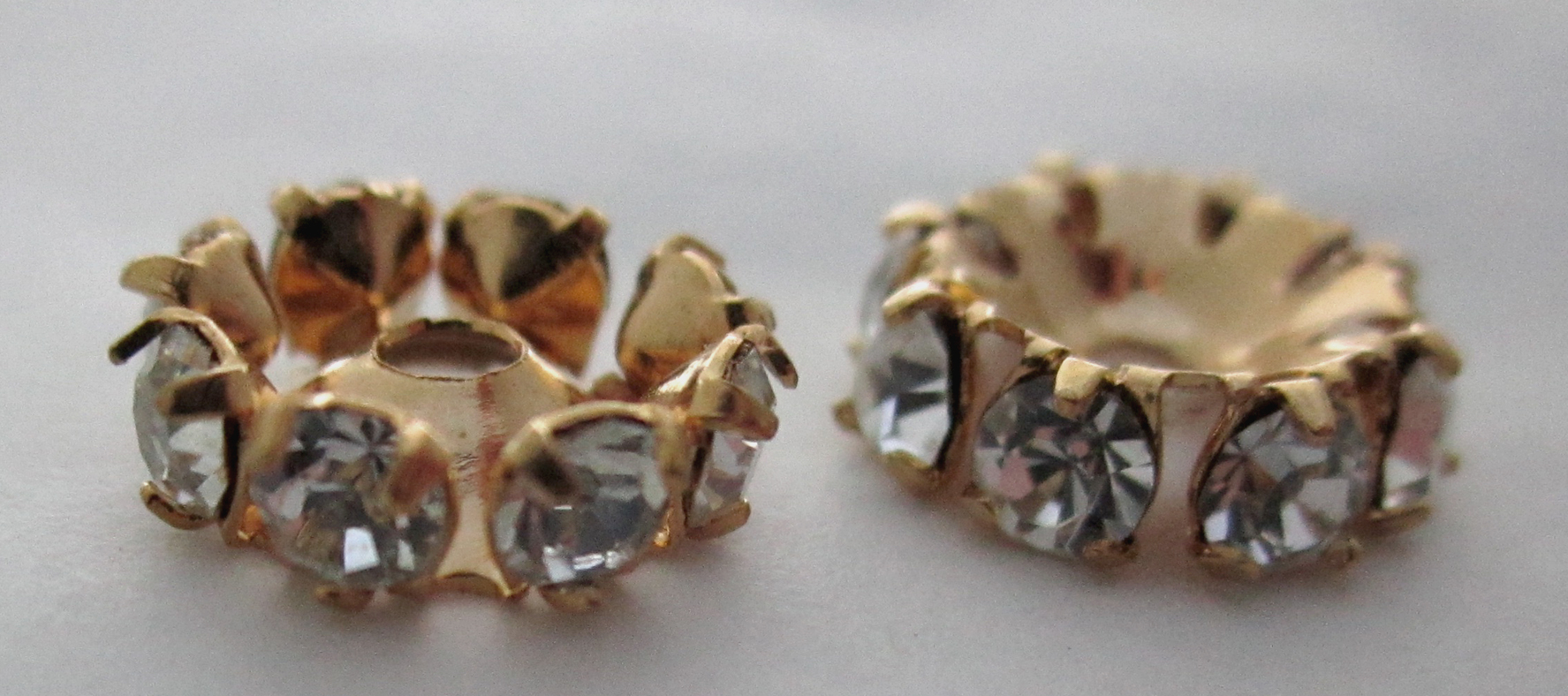 6 pcs. MCC machine cut crystal gold tone plated rhinestone rondelle beads 9mm - s283