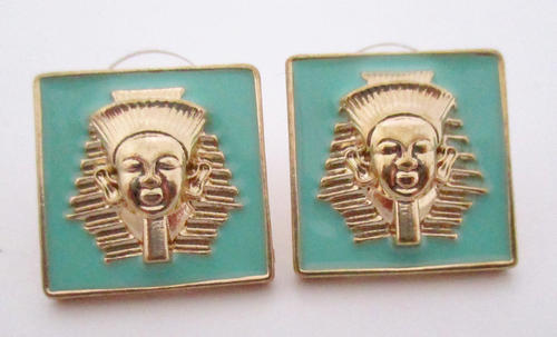 enamel Egyptian pharaoh King Tut turquoise blue gold tone earrings - j6058
