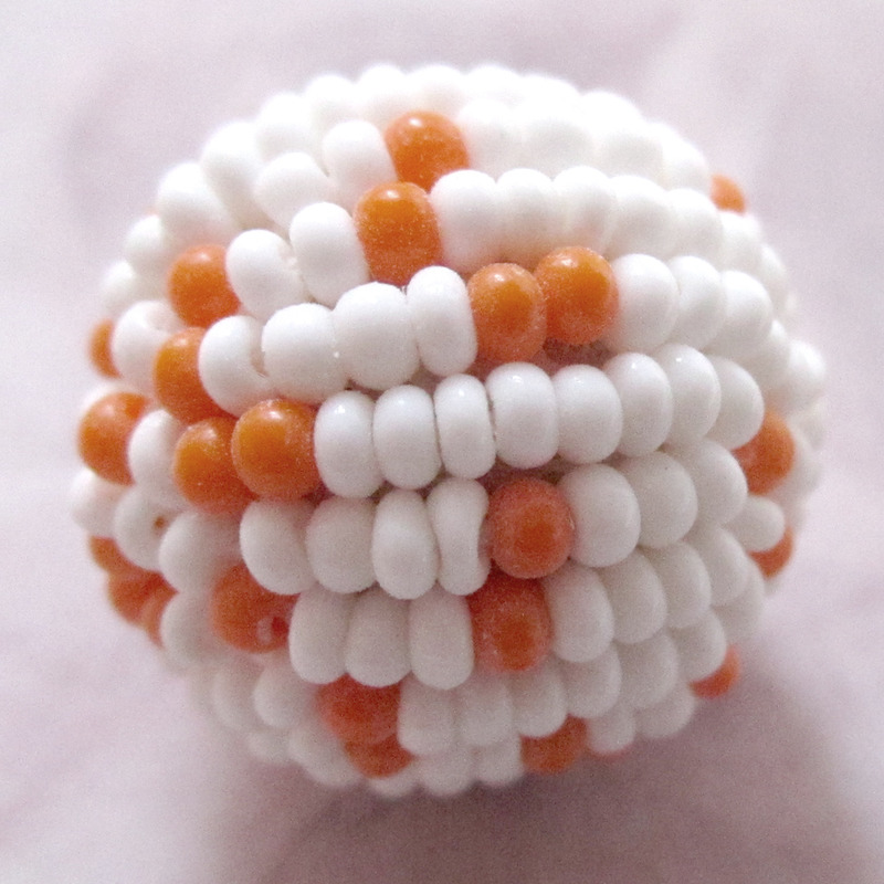 1 pc. glass orange & white seed beaded ball 17mm - f2991