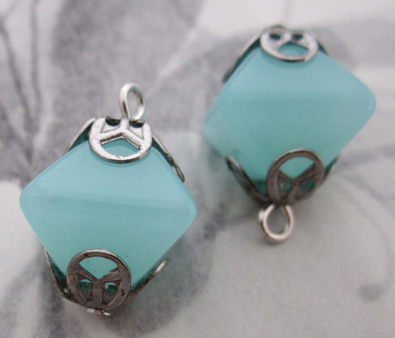 8 pcs. aqua blue plastic bead charms 15x14mm - f3405