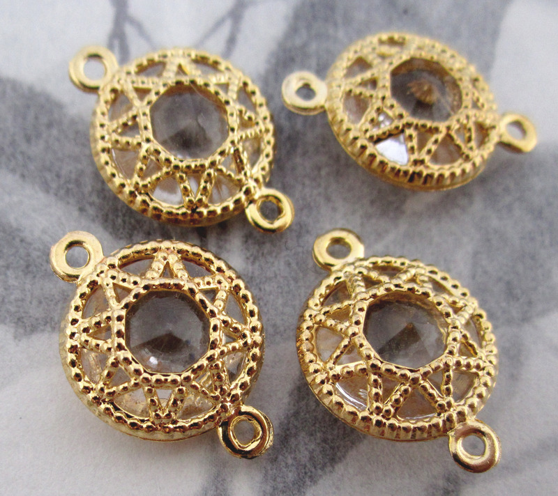 10 pcs. gold tone filigree over lucite connector bead charms 13mm - f3408