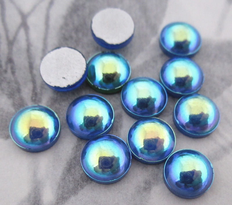 36 pcs. glass blue AB foiled flat back cabochons 7mm - f3439