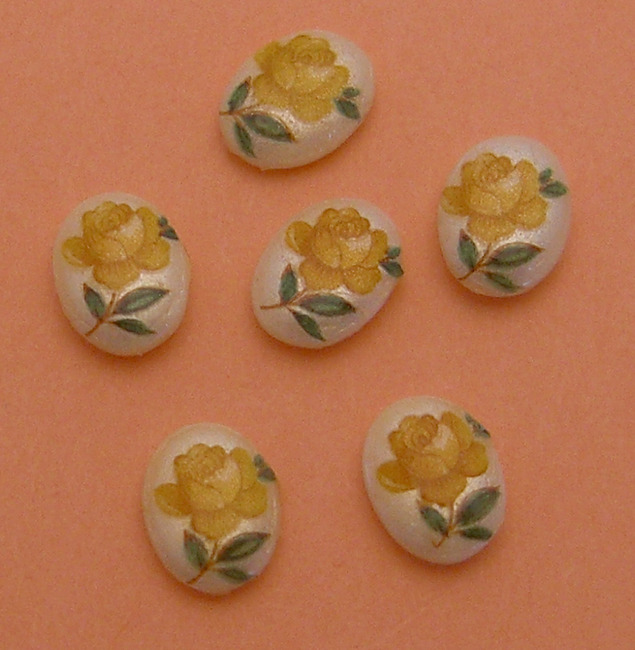 18 pcs. yellow rose plastic flower print cabochons 8x6mm - f2184